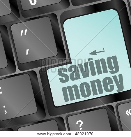 Saving Money For Investment Concept With A Blue Button On Computer Keyboard
