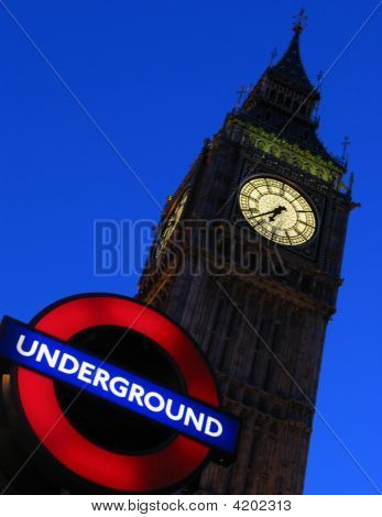 Big Ben And Underground Sign, London