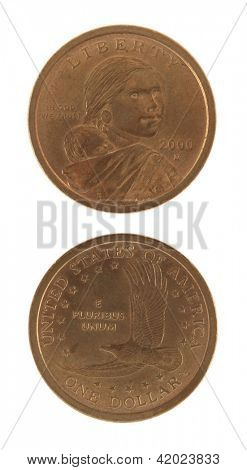 US Sacagawea dollar coin. Obverse and reverse isolated on white.