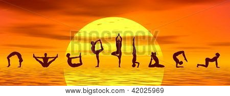 Yoga Asanas By Sunset - 3D Render