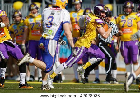 VIENNA, AUSTRIA - MARCH 25:  WR Kyle Kaiser (#3 Vikings) runs with the ball on March 25, 2012 in Vienna, Austria.