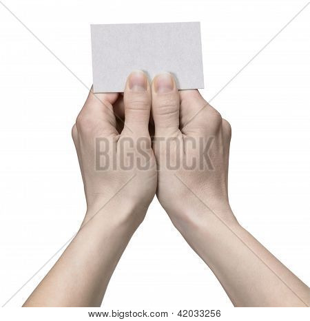 Hands Holding A Unlabeled Card