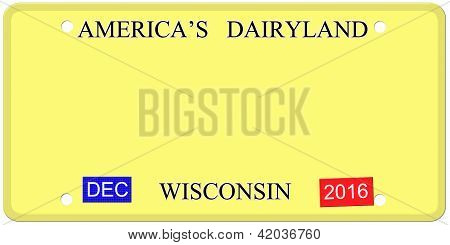 Blank Wisconsin Imitation License Plate