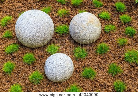 Japanese Zen Garden With Granite Stone Boulders