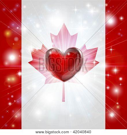 Love Canada Flag Heart Background