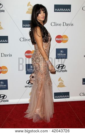 LOS ANGELES - FEB 9:  Bleona arrives at the Clive Davis 2013 Pre-GRAMMY Gala at the Beverly Hilton Hotel on February 9, 2013 in Beverly Hills, CA