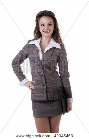 Beautiful Businesswoman With A Document Folder In Her Hands Isolated On White