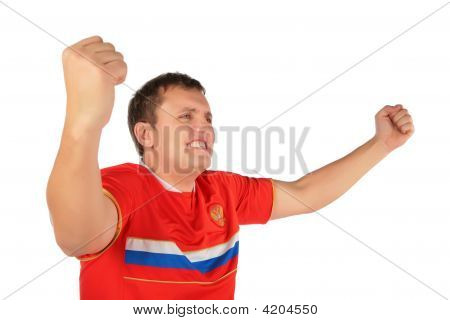 Sport Fan Man With Hands Up