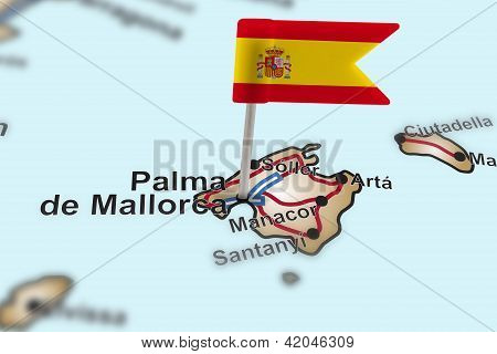 Pin With Flag Of Spain In Palma De Mallorca