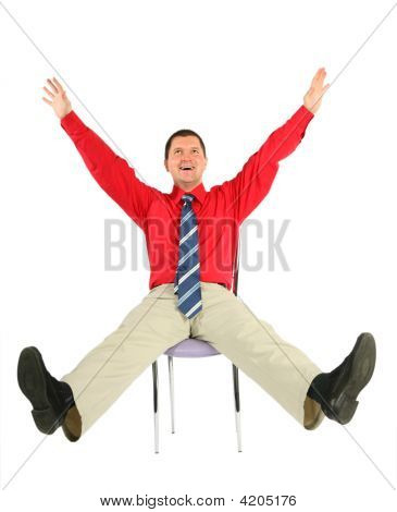 Happy Adult Man On Chair Isolated On White