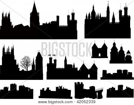 illustration with castles and towers silhouettes collection