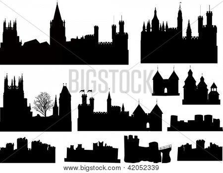 Ilustración con la colección de siluetas de castillos y Torres