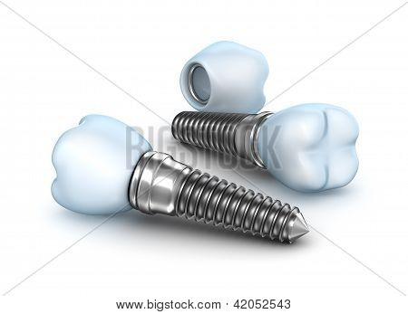 Dental implants , crown with pin isolated on white