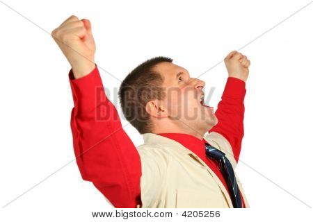 Emotional Adult Man Isolated On White Background