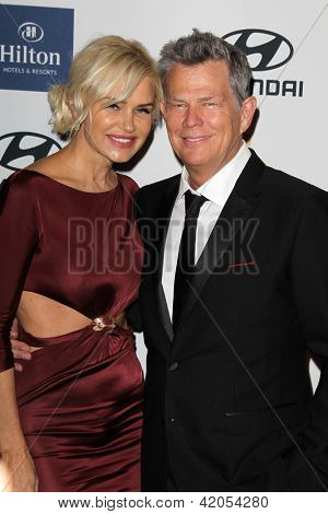 LOS ANGELES - FEB 9:  Yolanda Hadid, David Foster arrives at the Clive Davis 2013 Pre-GRAMMY Gala at the Beverly Hilton Hotel on February 9, 2013 in Beverly Hills, CA
