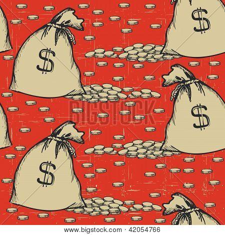 Sacos de dinheiro sem costura Pattern.vintage fundo com moedas