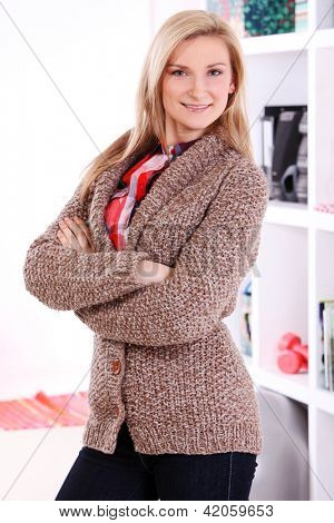 Beautiful middleaged woman at home