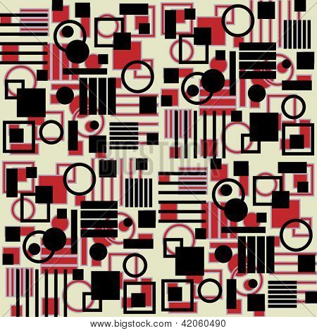 art vintage geometric pattern, red, white and black background
