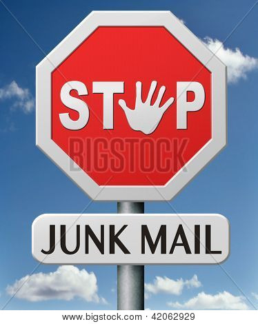stop junk mail no spam or spamming e-mail