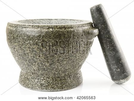 Granite mortar used for making sauces, isolated on white background