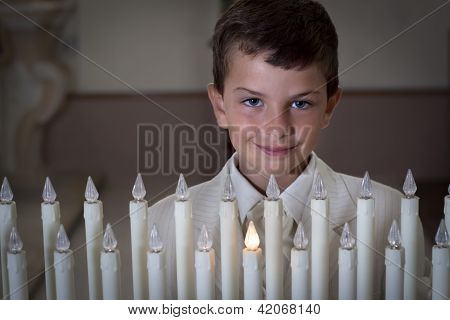 Boy With Church Candles