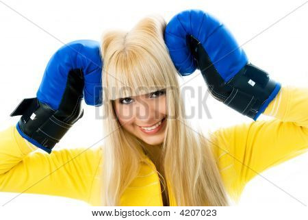 Happy Girl Wearing Boxing Gloves