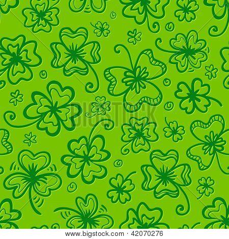 Green hand drawn clovers seamless pattern