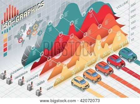 Isometric Infographic Set Elements With Cars