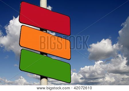 Blank Red, Amber And Green Signs