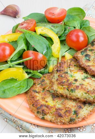 Quinoa Fritters And Salad