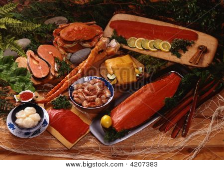 Seafood Spread With Smoked Salmon On Wood