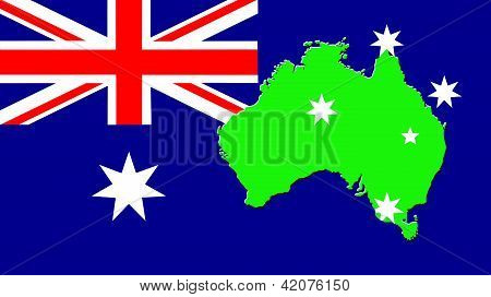 map of Australia and flag