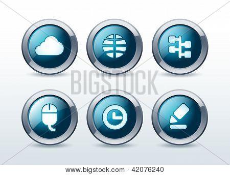 Web button icon set vector illustration