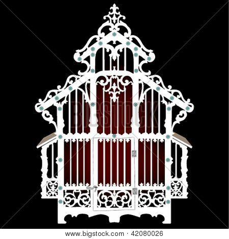 Vector illustration antique and decorative empty birdcage