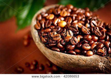 Coffee beans. Bowl of Aromatic Coffee close-up. Coffee Bean and Leaf