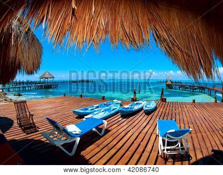 Luxury Vacation Concept. Mexico. Cancun. Caribbean Sea