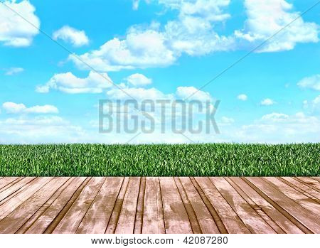 Wooden Floor Boards That Go On The Field With Grass