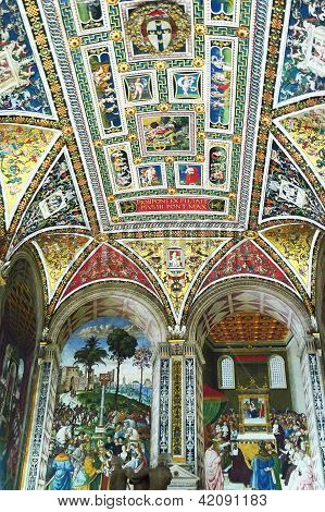 Frescoes at the Piccolomini Library in Sienna Cathedral