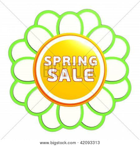 Spring Sale Green Orange Flower Label