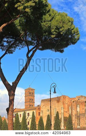 Vertical oriented image of Santa Francesca Romana church and ancient columns in Rome, Italy.