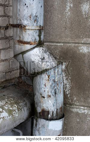 old rusty drainpipe