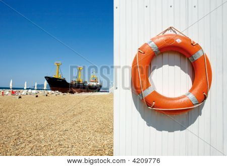 Freighter And Life Preserver