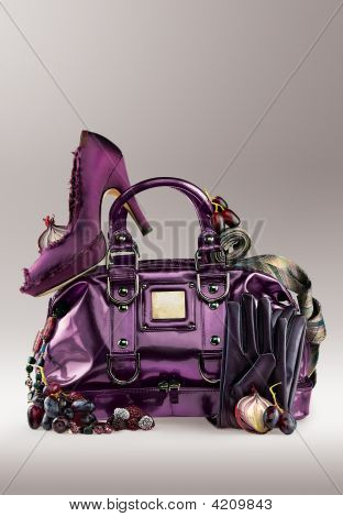 Purple Purse And Shoes