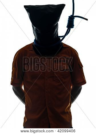 one caucasian criminal man with hangman noose around the neck  in silhouette studio isolated on white background