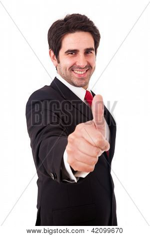Smiling young business man with thumbs up gesture, isolated over white