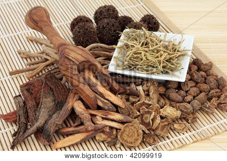 Chinese herbal medicine selection in a porcelain dish, scoop and loose over bamboo mat.