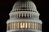 US Capitol building dome detail at night - Washington DC United States