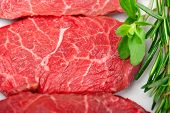 picture of shabu  - raw fresh Kobe Miyazaky beef with rosmary and marjoram - JPG