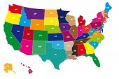 image of state shapes  - Detail color map of USA with name of states - JPG