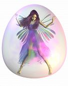 stock photo of faerie  - Pretty fairy with purple hair trapped inside a pink bubble - JPG